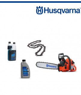 Верижен трион бензинов Husqvarna 372XP+Верига режеща 45см+Масло двутактово 1л, LS+, с дозатор+Масло за смазване на веригата1 л