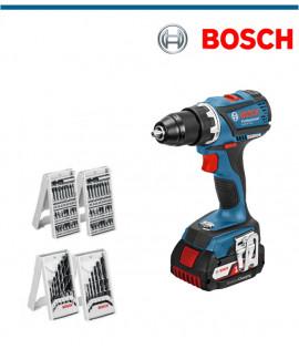 Акумулаторен винтоверт Bosch GSR 18 V-EC в комплект с 2x 4,0 Ah и подарък консуматов 63 части