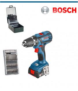 Aкумулаторен винтоверт Bosch GSR 18-2-LI Plus + комплект от 63 части консуматив